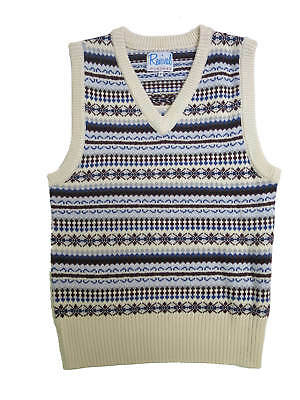 "1940s Forties Vintage Style Wartime WW2 Fairisle Tank Top Cream M 38-40"" Chest"