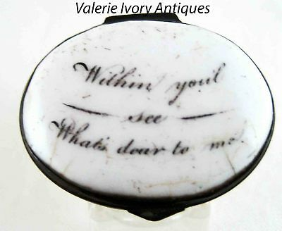 Battersea Bilston Enamel Patch Box – Within You'l See What's Dear To Me – c 1780