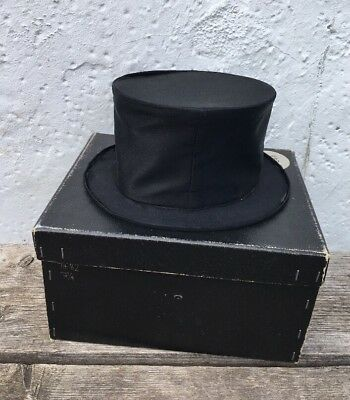 Vintage Black Top Hat And Box Made By Christys' London (hat Slight Damage)
