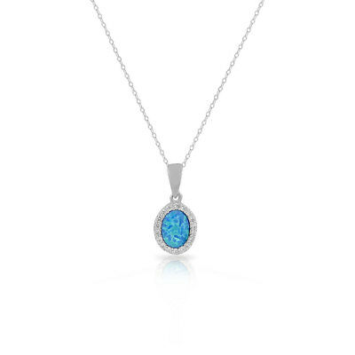 Sterling Silver Blue Turquoise-Tone Simulated Opal CZ Oval Pendant Necklace