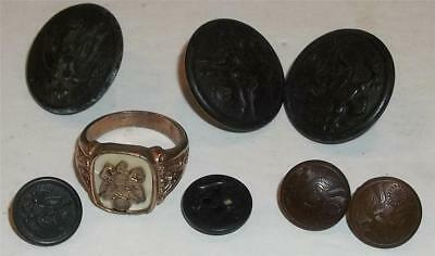 Vintage U.S. Military Uniform Buttons and Ring