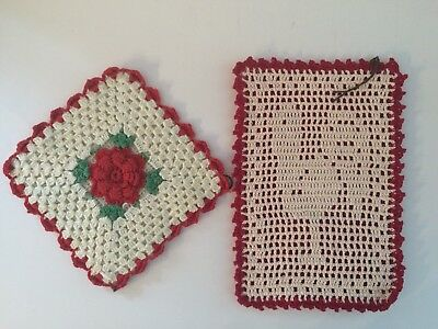 2 Vintage Hand Crocheted Red and White Pot Holders Rooster & Flower