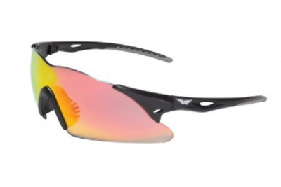 Motorcycle Rider Safety Sunglasses UV400 Shatterproof Black w/ G-Tech Red Lens