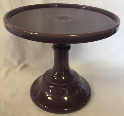 """Cake Plate Pastry Tray Bakers Plain & Simple Eggplant Purple Glass - 6"""" Mosser"""