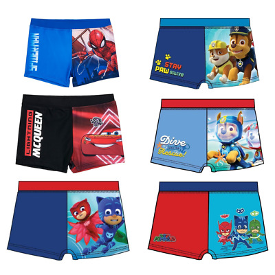 Paw Patrol Cars Spiderman Swim Shorts Boys Trunks Licensed Product