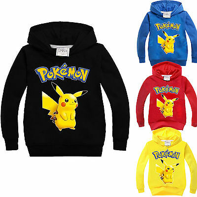 Pokemon Go Pikachu Hoodie Sweatshirt Kids Boy Girl Hooded Pullover Tops Clothes