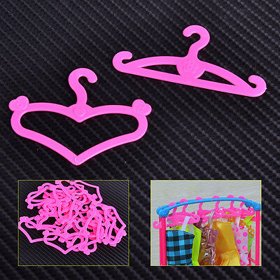 "50x3"" Pink Plastic Clothes Dress Hangers Holder for Barbie Doll Accessories Gift"