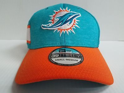 23e40de0febcc6 Miami Dolphins Cap New Era 39Thirty Stretch On Field 2018 Home Sideline Hat