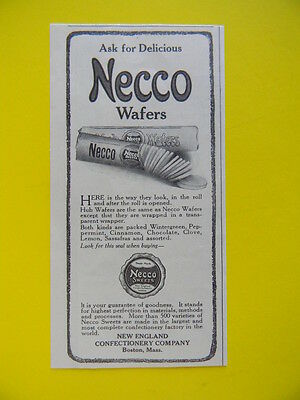 1911 Ask For Delicious Necco Wafers ~  New England Confection Candy Co. Sales Ad