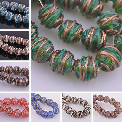 New 5pcs 14mm Twist Round Loose Spacer Lampwork Glass Beads Jewelry Making Lot