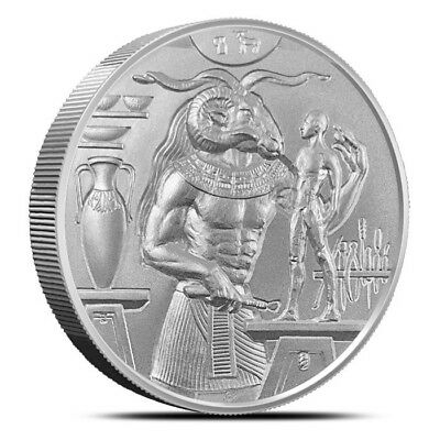 Khnum 2 oz Ultra High Relief Silver Round Egyptian Gods with Capsule Velvet Pouc