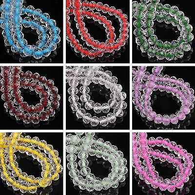 New 50pcs 8mm*6mm Rondelle Faceted Crystal Glass Loose Spacer Bead Jewelry DIY