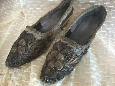 Antique 1800's velvet ladies shoes with French metalwork floral design RARE