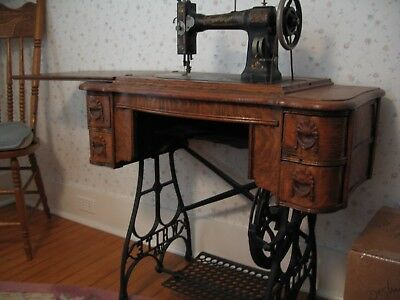 ANTIQUE WHITE FOOT Pedal Manual Sewing Machine With Original Oak Unique Antique Pedal Sewing Machine