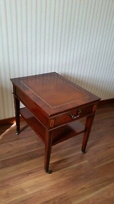 Vintage Leather Top 1 Drawer Night Stand