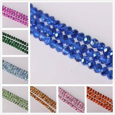 8mm*6mm 50pcs Plated Charms Rondelle Faceted Crystal Glass Loose Spacer Beads