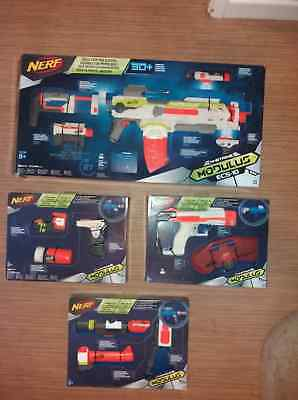 Nerf Modulus ECS-10 plus upgrade kits. Stealth Ops, Strike & Defend, Long Range.