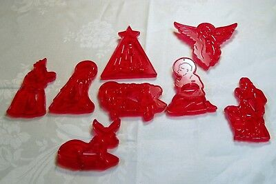 New Vintage Design HRM Plastic Cookie Cutter Set of 8 Nativity Creche Christmas