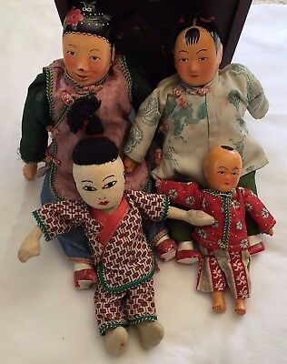 Antique/Vintage Handmade Chinese Dolls Family Lot of 4 Dolls