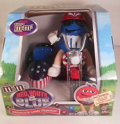 M & M Mars Red White & Blue Motorcycle w/Side Car Candy Dispenser w/5.3 oz Candy