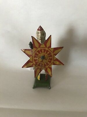 VINTAGE ANTIQUE TIN Wind Up Toy Clown With Spinning UmBralla ...