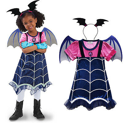 Girls Vampirina Funny Dress Wings Hair Band Party Outfit Clothes Cosplay Costume
