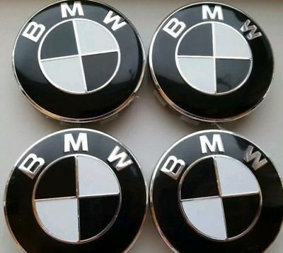 4x Black White Colour Fits BMW MOST SERIES 68mm ALLOY WHEEL CENTRE CAPS 10 Pin