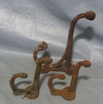 3 Cast Iron Coat Hat Wall Hooks Antique Style School Farm Tack Closet Brown