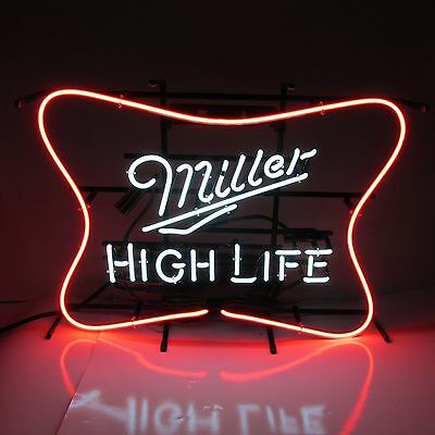Miller High Life Beer Soft Cross Neon Lit Sign   Basement New