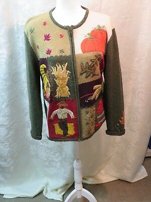 Jones New York Fall Pumpkin Scarecrow HAND-Embroidered Sweater Women's Large!