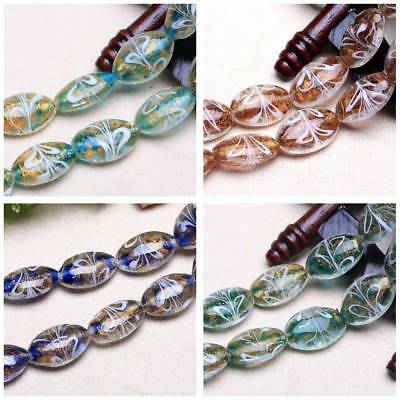 10pcs 24x18mm Oval Foil Inside Lampwork Glass Loose Craft Beads Jewelry Findings