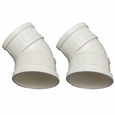 3X(PVC-U 50mm Drainage Pipe Adapter Connector 45 Degree Elbow White 2 Piece T3W2