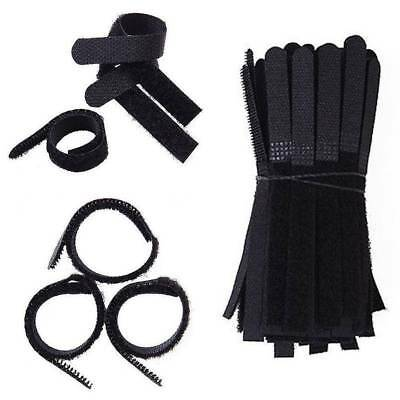 100 pcs Reusable Nylon Straps Hook and Loop Cable Cord Ties Tidy Organiser Black