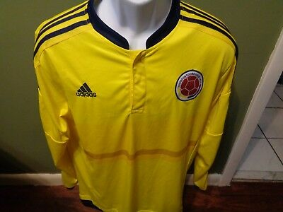f2a392b3aa6 ... spain cheapest adidas colombia fcf 2015 16 climacool long sleeve home  soccer jersey mens xl a9c50