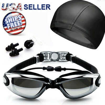 Swimming Glasses Goggles UV Protection Anti-Fog Swim Cap Nose Clip Unisex Black