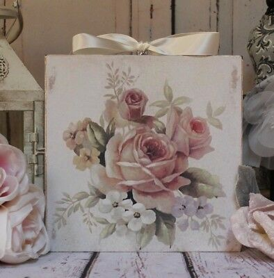 """~ Shabby Chic ~ Vintage ~ Country Cottage style ~ Wall Decor Sign ~ """"Roses..."""" ~"""