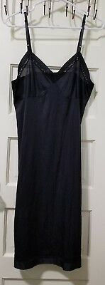 VINTAGE Lorraine Women's under dress Full Slip size 38 Long Silky Lace Black EUC