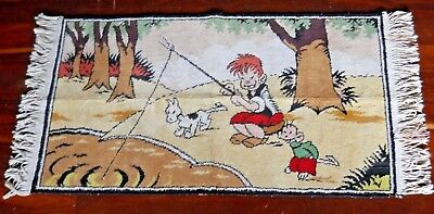 """c.1950's Australian Comic Character Ginger Meggs Wool Rug """"Fishing With Friends"""""""