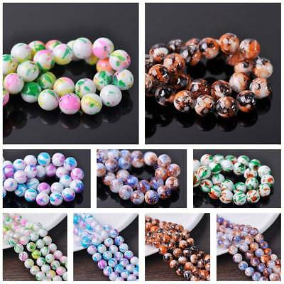 10pcs/50pcs 12mm Colorful Spots Coated Round Opaque Glass Loose Spacer Beads