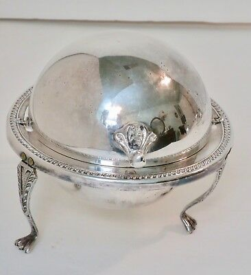 1883 Silver Plate Roll Top Lion Foot Butter Dish #172 F.B. Rogers Silver Company
