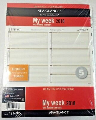 """AT-A-GLANCE 491-285 Refill My Week 2018 w/ Monthly Calendars 8 1/2"""" x 11'"""