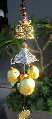 Bronze Metal Hanging Windchime With 2 Buddha Charms & 3 Bells Brand New