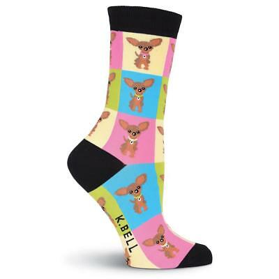 K.Bell-Women's Chihuahua Crew Socks-cute gift for dog Lovers-Shoe Size 4-10,OSFM