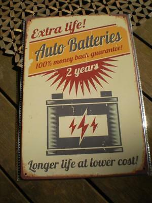 Auto batteries collectable pressed metal man cave sign Free post
