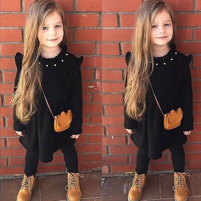 Winter Fall Children Kids Girls Solid Color Long sleeves Dress Princess Clothing