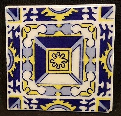 Vintage Ideal Standard Tile Mexico Blue Yellow Mexican Painted Wall Decor