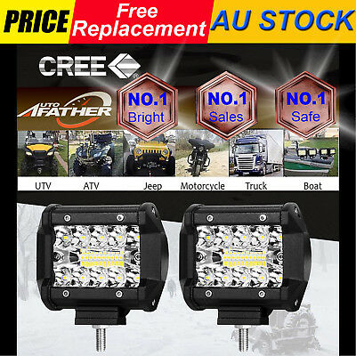 2X8000LM CREE LED Light Bar Spot Flood Beam Offroad Work Driving Fog Reverse 4WD