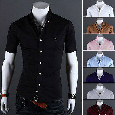 Mens Short Sleeve Button Down Business Tops Blouse Slim Fit Formal Dress Shirts