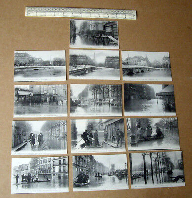 1910 Paris France Flood Disaster Vintage Postcards x 13. Very Fine. Rare set