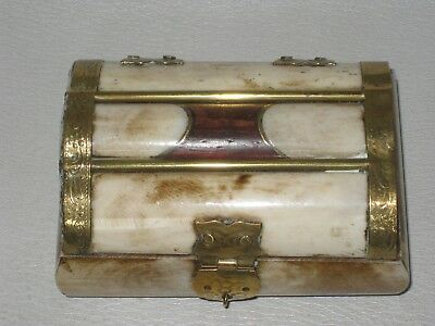 Vintage Polished Bone Treasure Chest Trinket Box - Brass Inlay